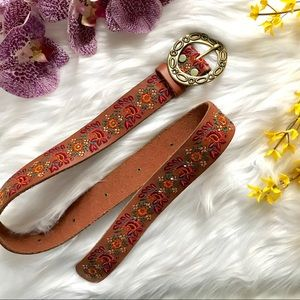LUCKY BRAND Floral Embroidered Leather Brass Belt
